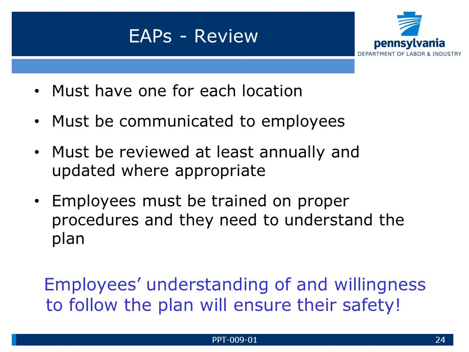 EAPs - Review Must have one for each location
