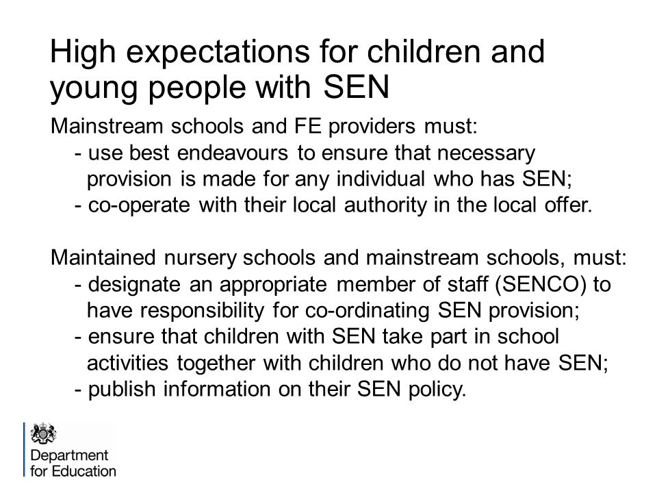 High expectations for children and young people with SEN