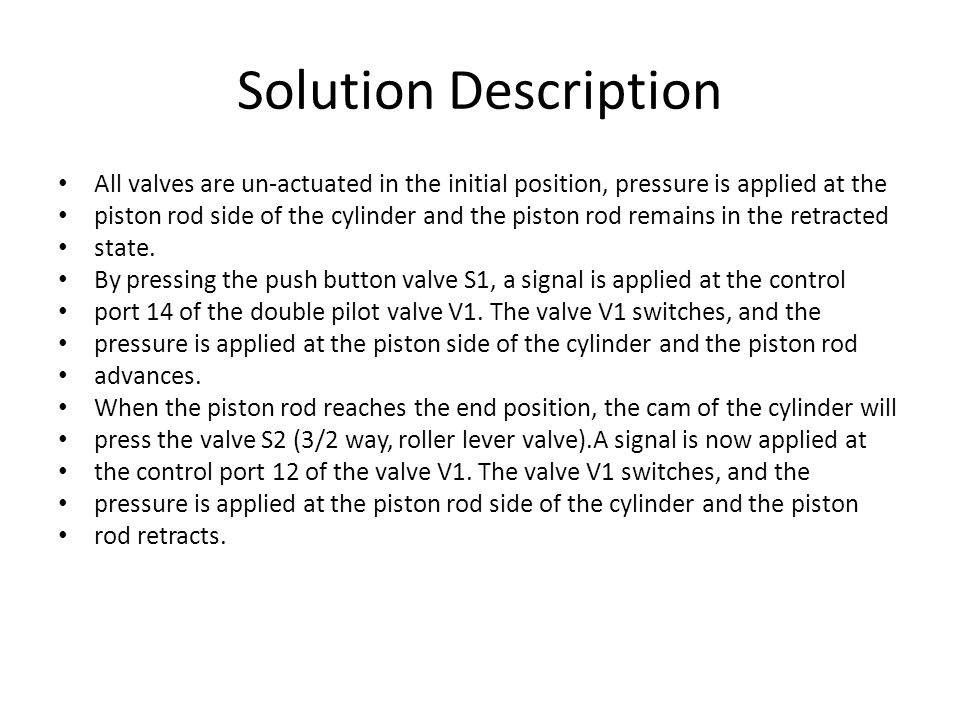 Solution Description All valves are un-actuated in the initial position, pressure is applied at the.