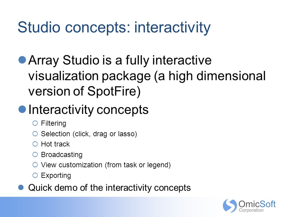 Studio concepts: interactivity