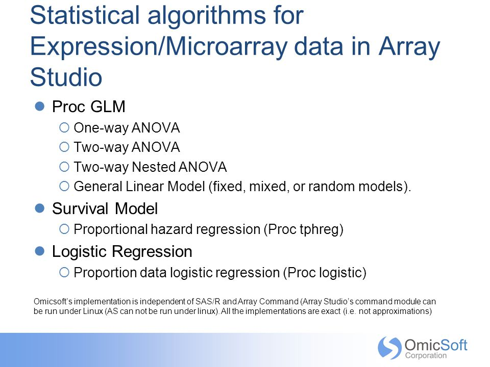 Statistical algorithms for Expression/Microarray data in Array Studio