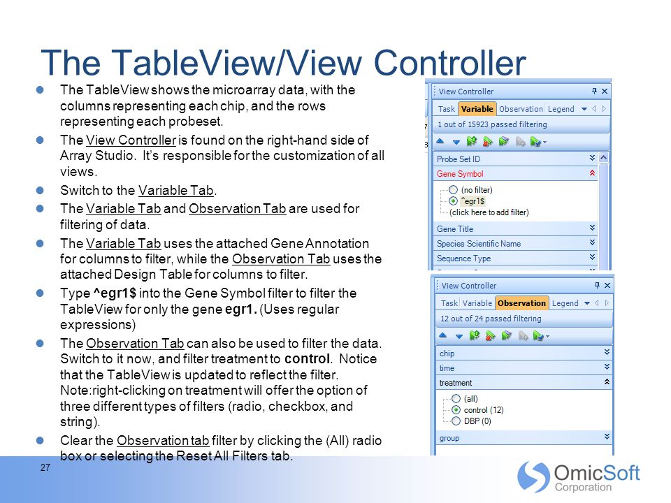 The TableView/View Controller