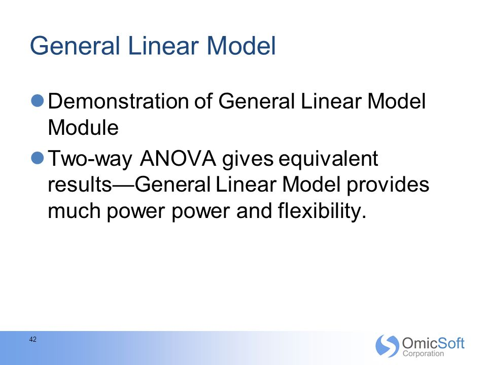 General Linear Model Demonstration of General Linear Model Module