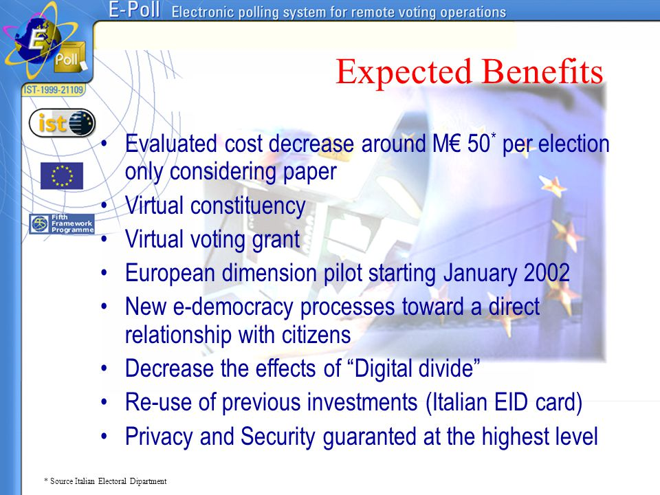 Expected Benefits Evaluated cost decrease around M€ 50* per election only considering paper. Virtual constituency.