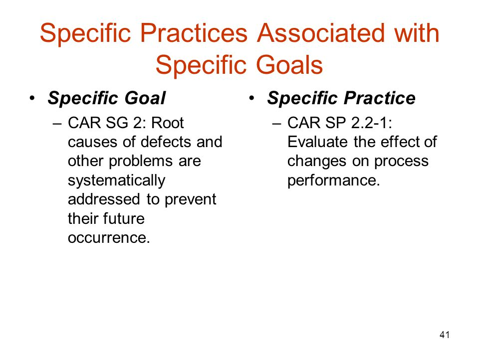 Specific Practices Associated with Specific Goals