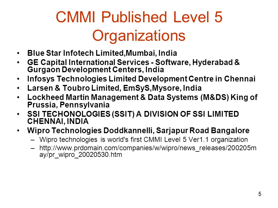 CMMI Published Level 5 Organizations