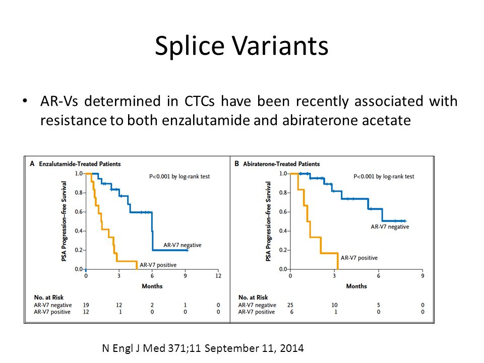 Splice Variants AR-Vs determined in CTCs have been recently associated with resistance to both enzalutamide and abiraterone acetate.