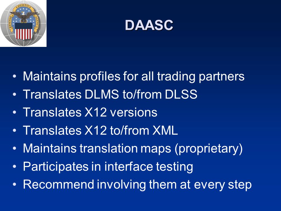 DAASC Maintains profiles for all trading partners