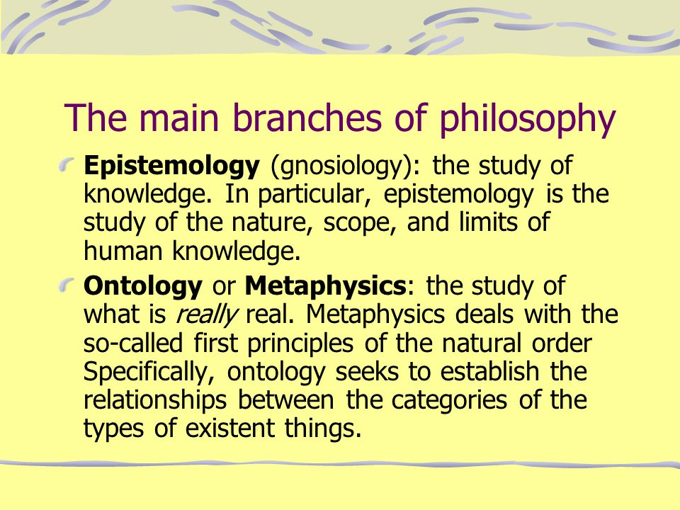 The main branches of philosophy