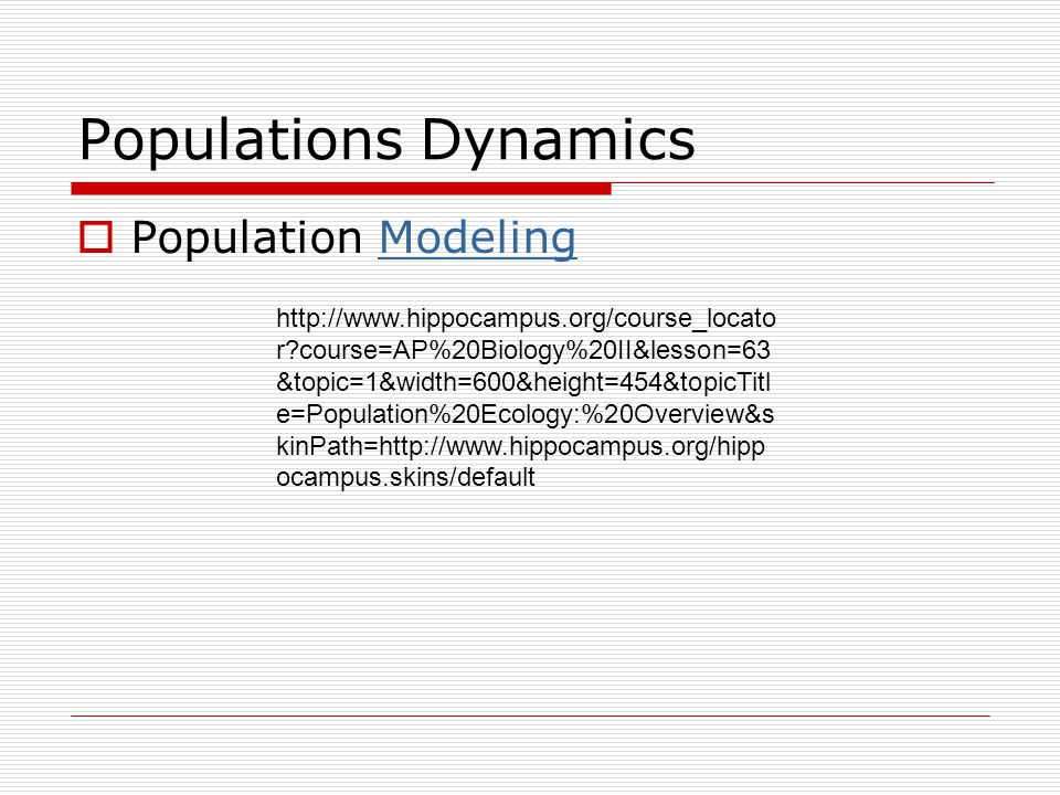 Populations Dynamics Population Modeling
