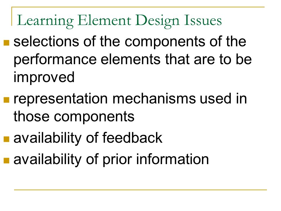 Learning Element Design Issues