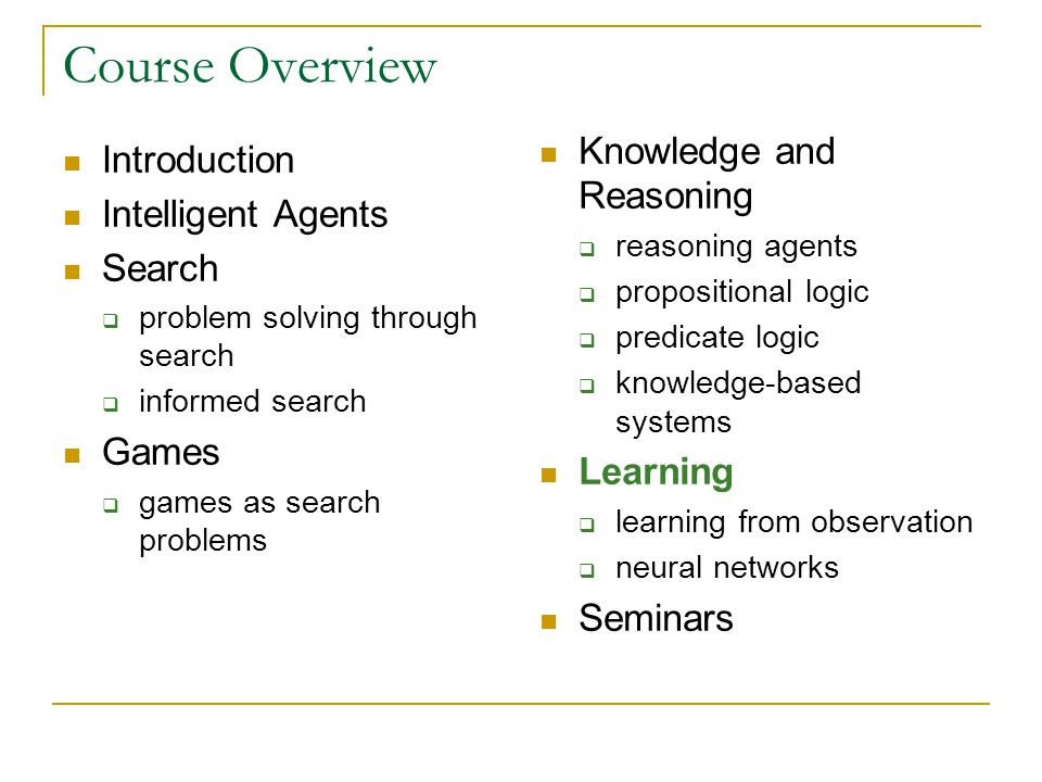 Course Overview Knowledge and Reasoning Introduction