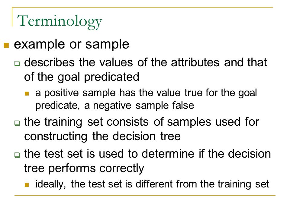 Terminology example or sample