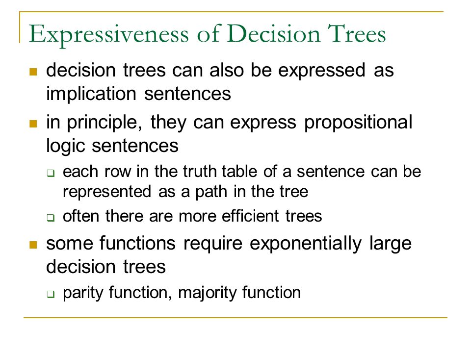Expressiveness of Decision Trees