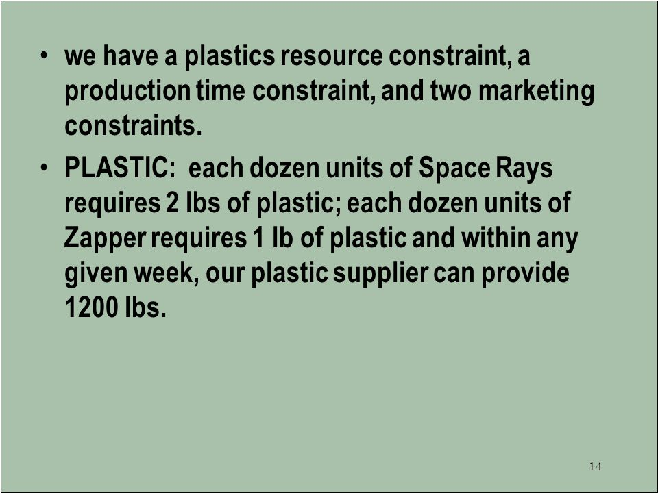 we have a plastics resource constraint, a production time constraint, and two marketing constraints.