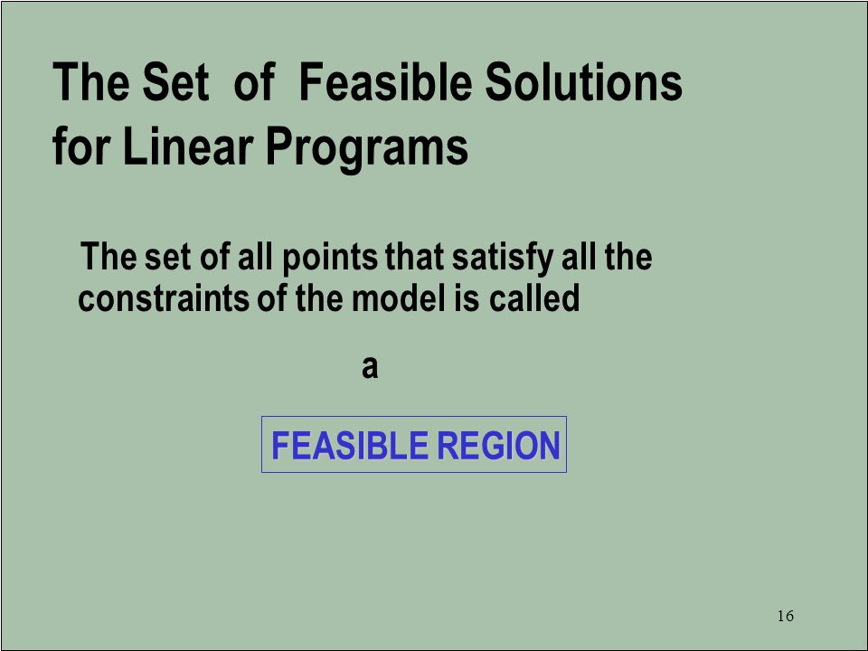 The Set of Feasible Solutions for Linear Programs