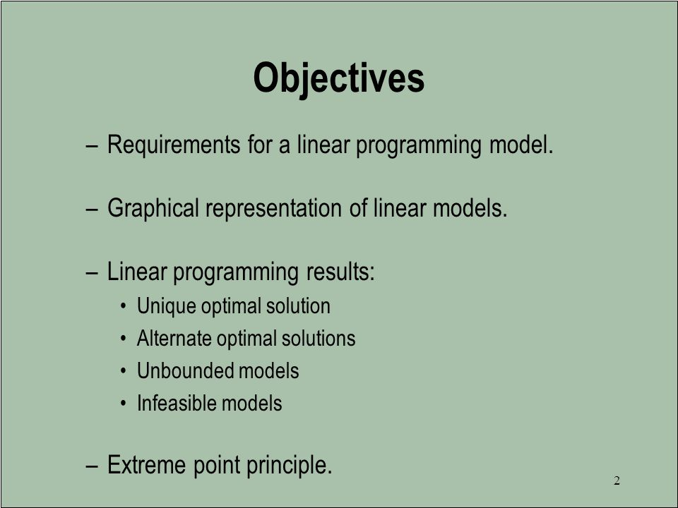 Objectives Requirements for a linear programming model.
