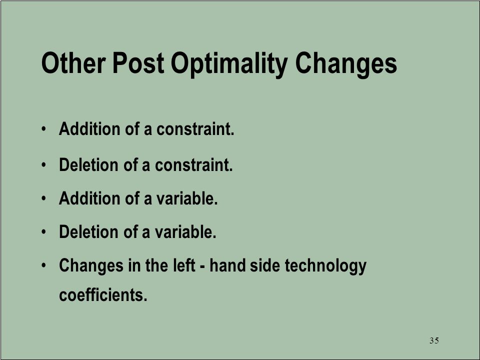 Other Post Optimality Changes