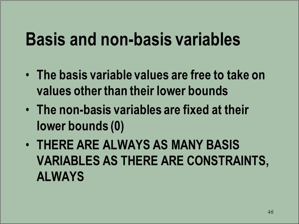 Basis and non-basis variables