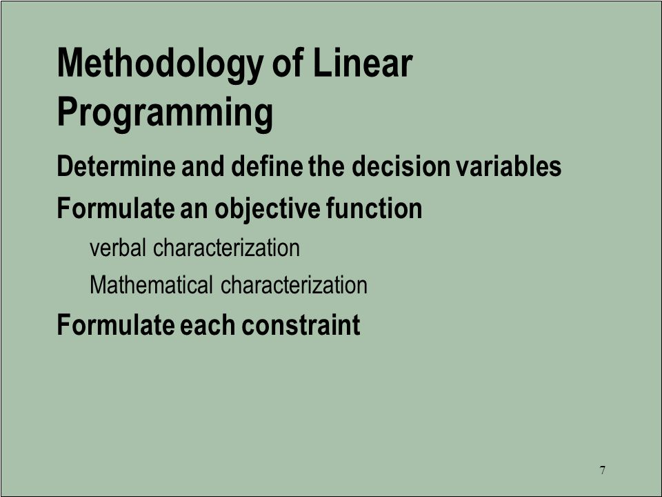 Methodology of Linear Programming