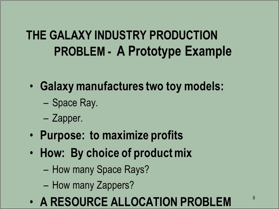 THE GALAXY INDUSTRY PRODUCTION PROBLEM - A Prototype Example