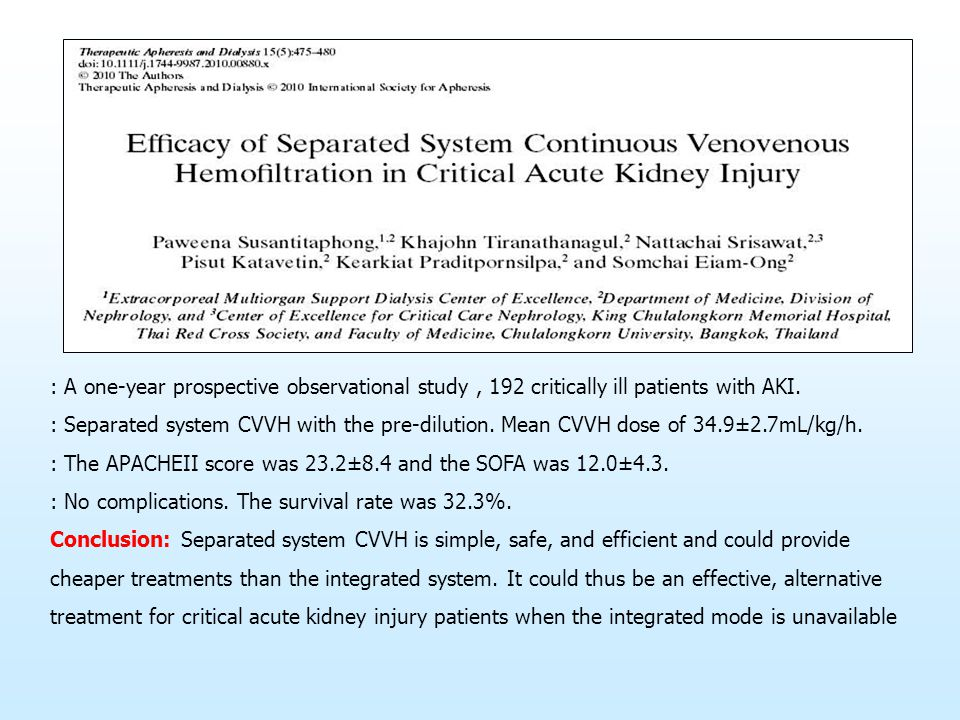 : A one-year prospective observational study , 192 critically ill patients with AKI.