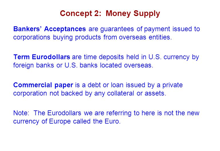 Concept 2: Money Supply Bankers' Acceptances are guarantees of payment issued to corporations buying products from overseas entities.