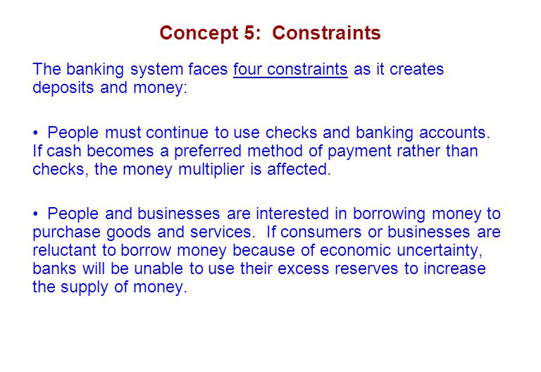 Concept 5: Constraints The banking system faces four constraints as it creates deposits and money: