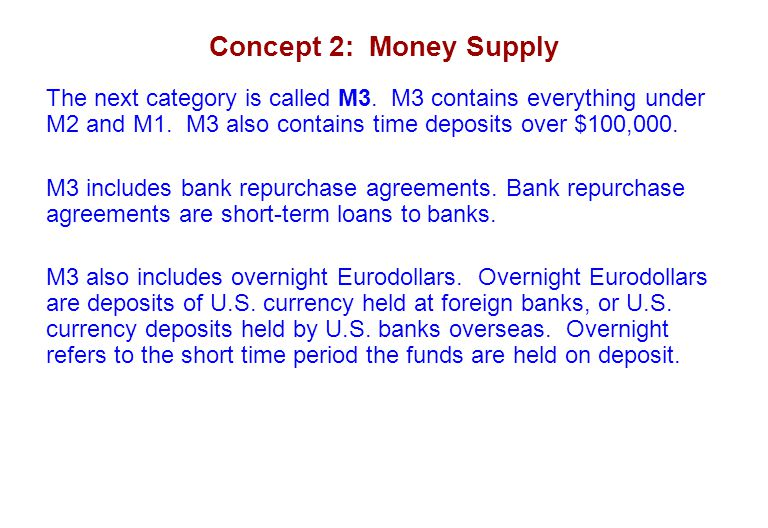 Concept 2: Money Supply The next category is called M3. M3 contains everything under M2 and M1. M3 also contains time deposits over $100,000.