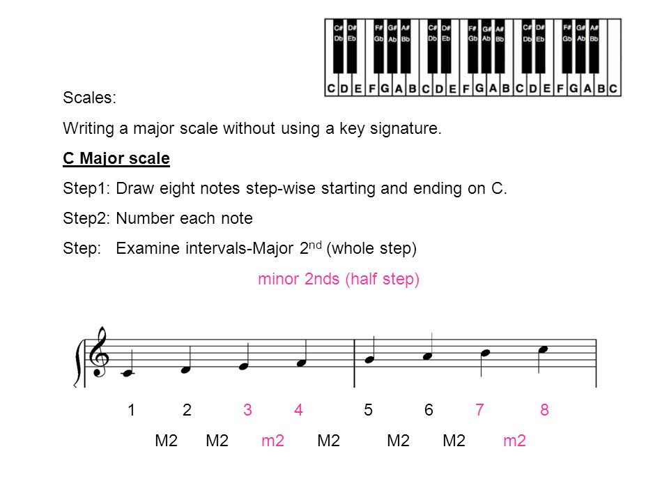 Scales: Writing a major scale without using a key signature  - ppt