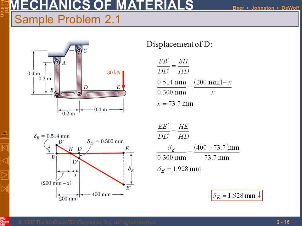Sample Problem 2.1 Displacement of D: