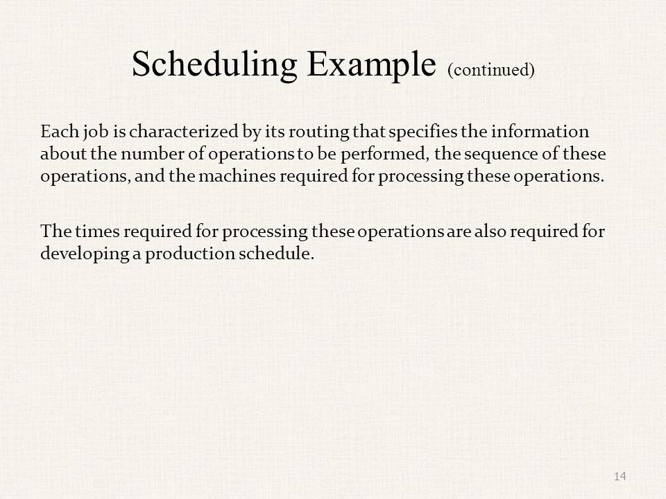 Scheduling Example (continued)