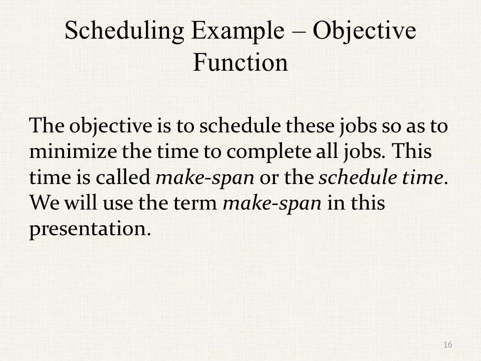 Scheduling Example – Objective Function
