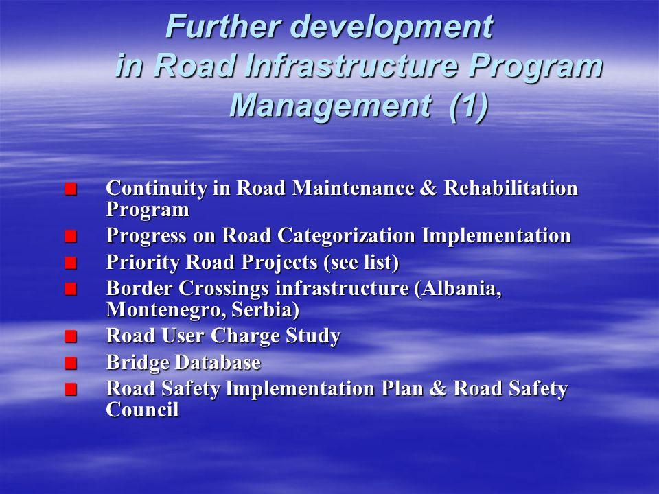 Further development in Road Infrastructure Program Management (1)