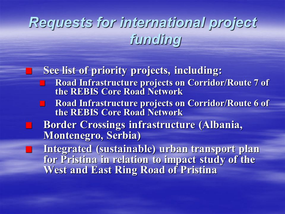 Requests for international project funding