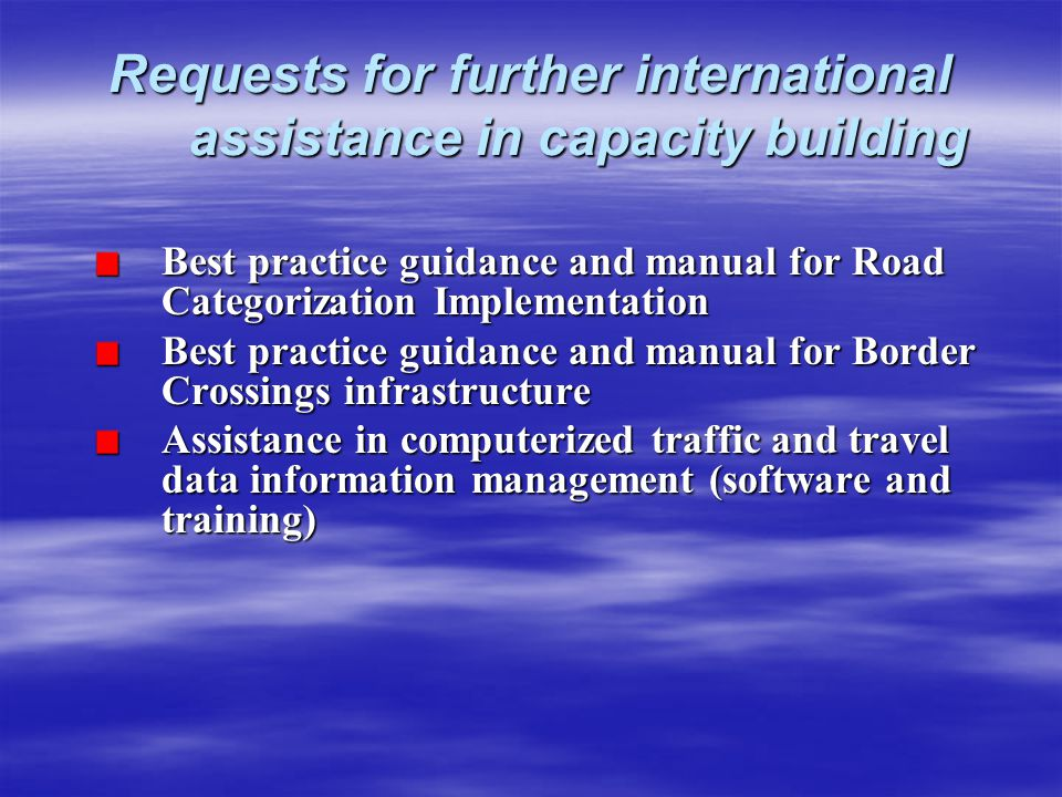 Requests for further international assistance in capacity building