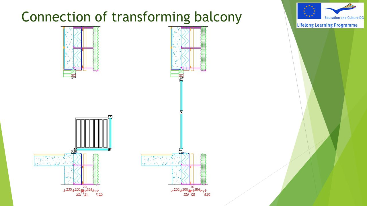 Connection of transforming balcony