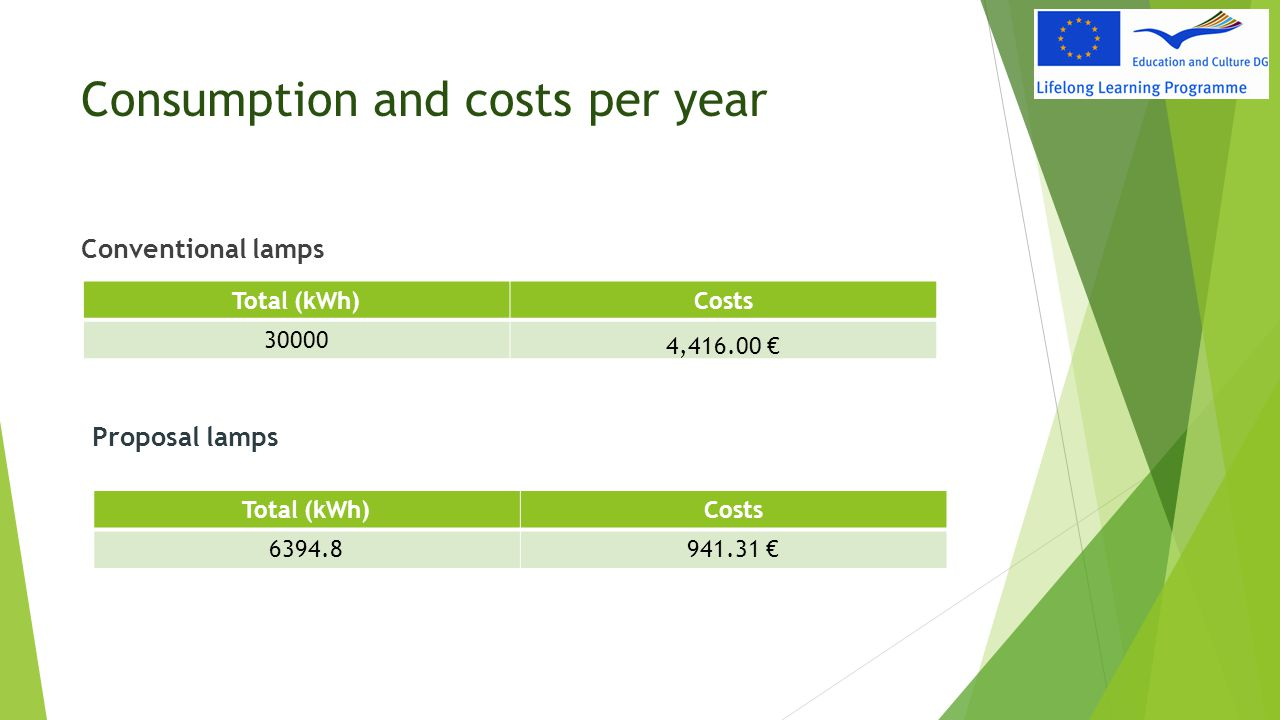 Consumption and costs per year