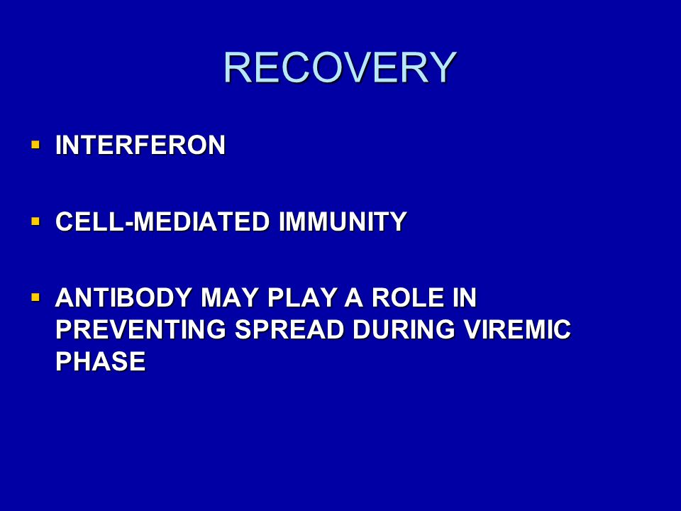 RECOVERY INTERFERON CELL-MEDIATED IMMUNITY