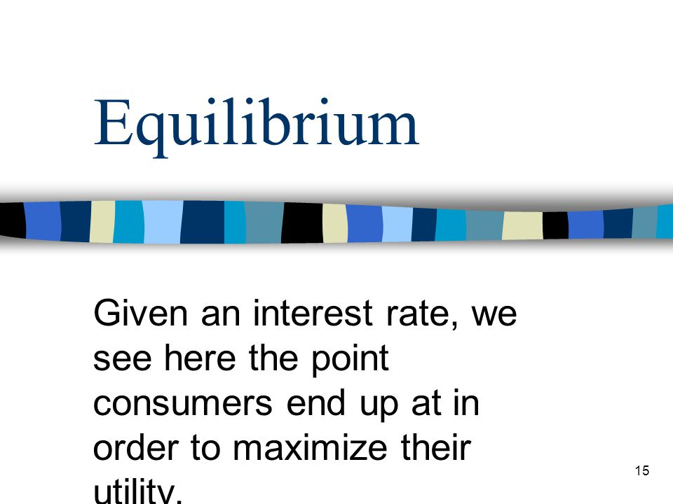 Equilibrium Given an interest rate, we see here the point consumers end up at in order to maximize their utility.