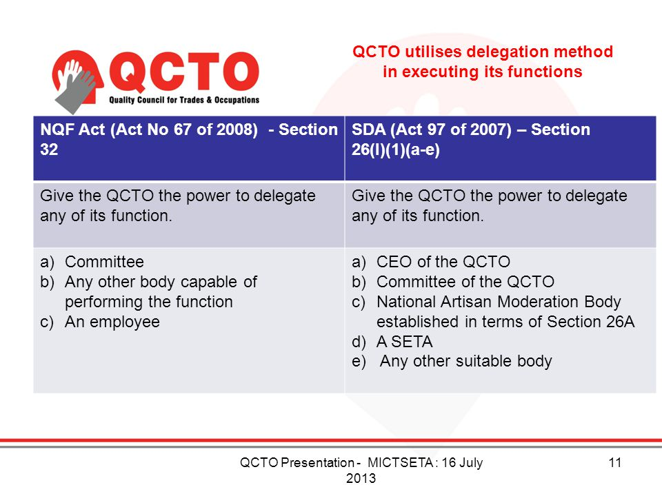 QCTO utilises delegation method in executing its functions