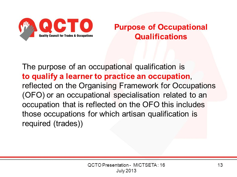 Purpose of Occupational Qualifications
