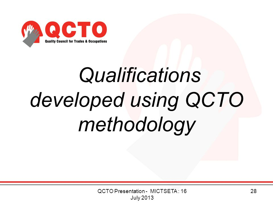 Qualifications developed using QCTO methodology