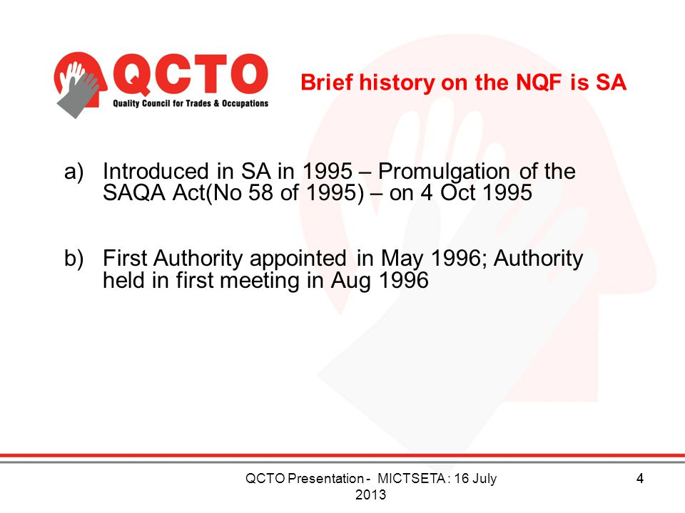 Brief history on the NQF is SA