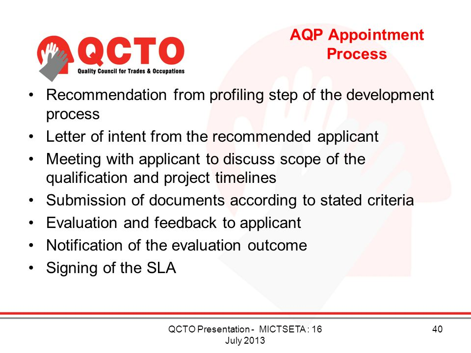 AQP Appointment Process
