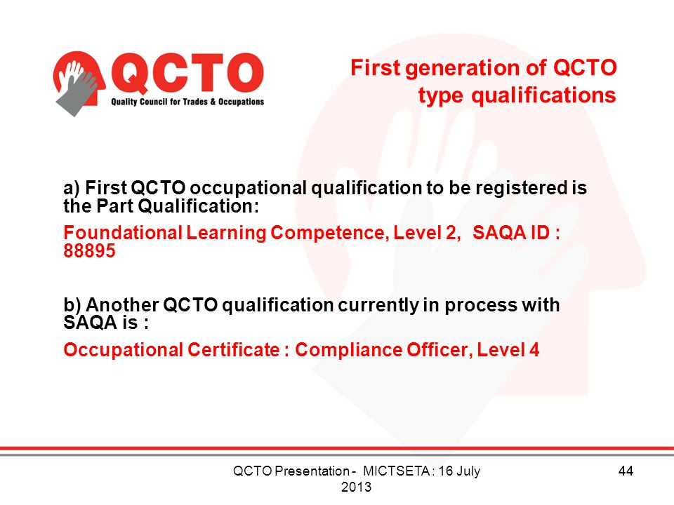 First generation of QCTO type qualifications