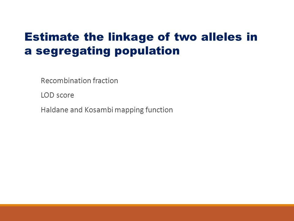 Estimate the linkage of two alleles in a segregating population