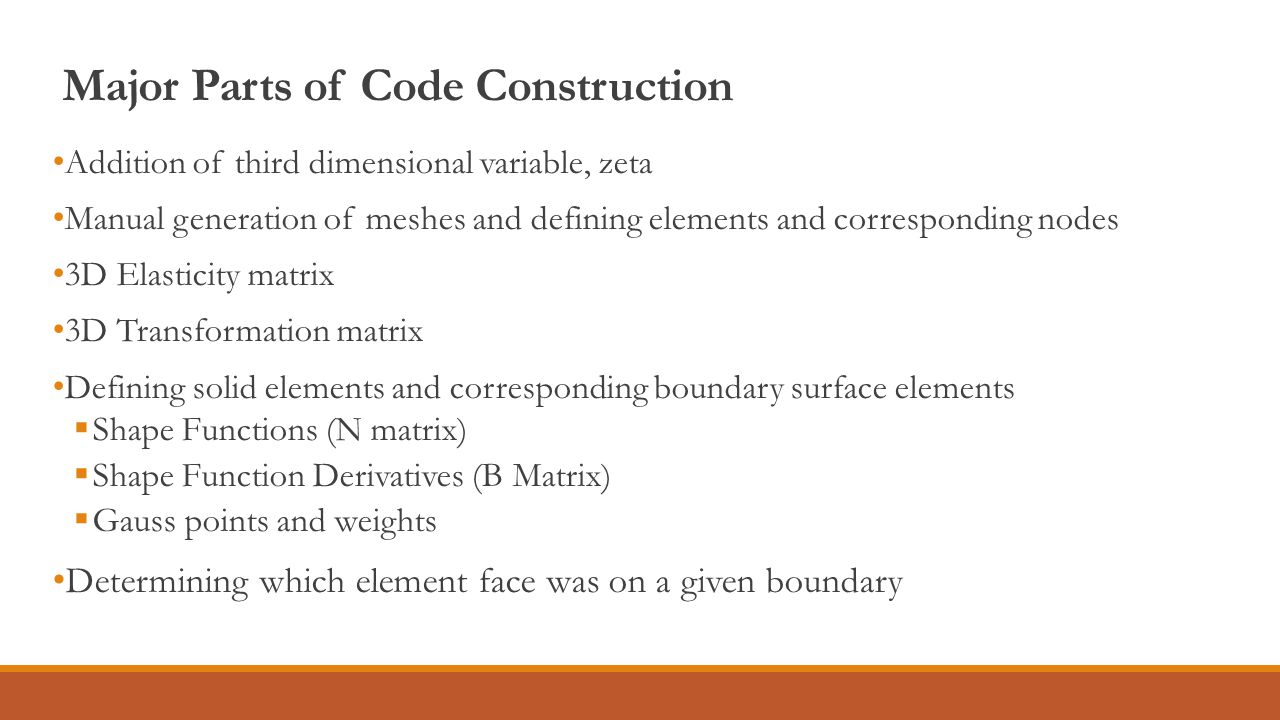 Major Parts of Code Construction