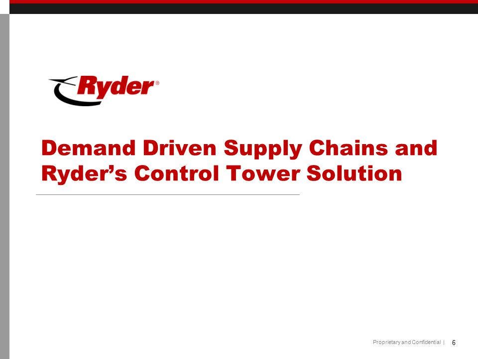 Demand Driven Supply Chains and Ryder's Control Tower Solution