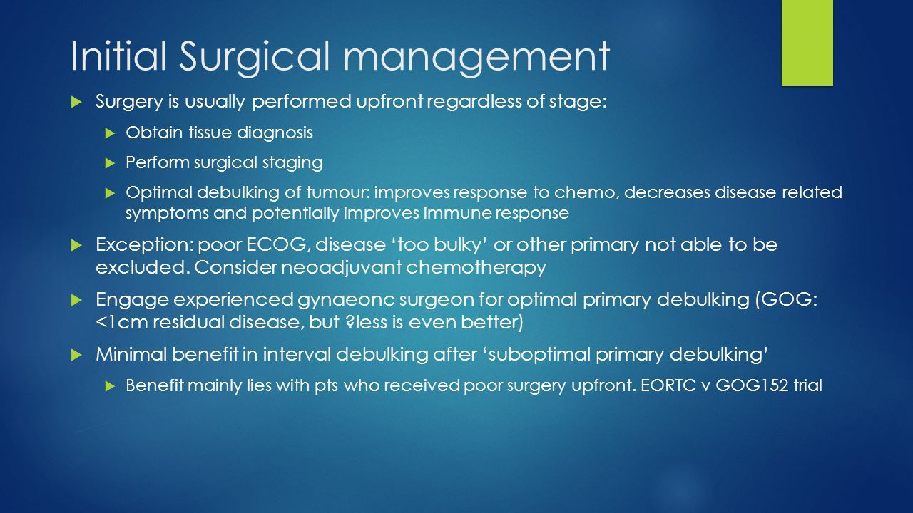 Initial Surgical management